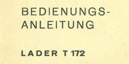 Selbstfahrender Lader T172 - Bedienungsanleitung