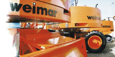 """Prospekt 1995 Weimar - Werk Baumaschinen GmbH <br>""""Für solide Fundamente"""""""
