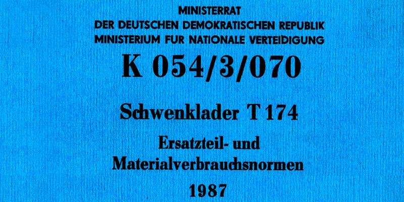 Schwenklader T174 Ersatzteil- und Materialverbrauchsnormen