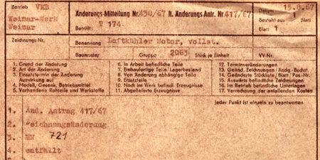 1967 - T174 - VEB Weimar-Werk - Änderungsmitteilungen des Kundendienstes