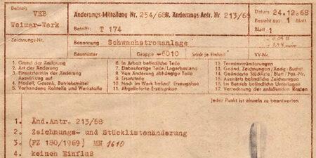 1968 - T174 - VEB Weimar-Werk - Änderungsmitteilungen des Kundendienstes