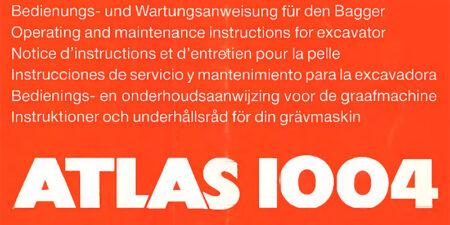 1995 - Atlas 1004 - Bedienungs- und Wartungsanweisung
