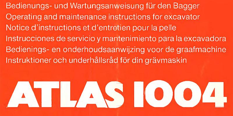 Atlas 1004-Bedienungs- und Wartungsanweisung