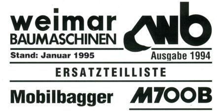 Ersatzteilliste M700B - 1994 Stand 1995