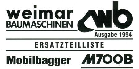Ersatzteilliste M700B - 1994