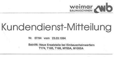 1994 - weimar BAUMASCHINEN - Änderungsmitteilungen des Kundendienstes</br>Umbausatz Scheinwerfer T174, T185, T188, M1000A und M700A