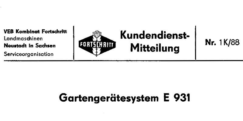 E931 Gartengerätesystem-Kundendienstmitteilung