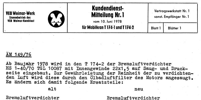 Kundendienstmitteilung T174/1 und T174/2 - Bremsluftverdichter / Keil Zinkenleiste / Achsschenkellager / Zahnradpumpe