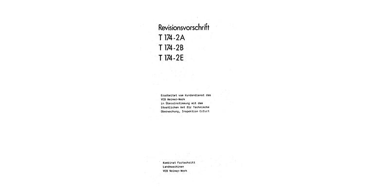 T174-2A / T174-2B / T174-2E - Revisionsvorschrift