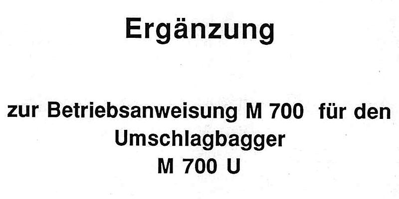 M700U Ergänzung zur Betriebsanweisung