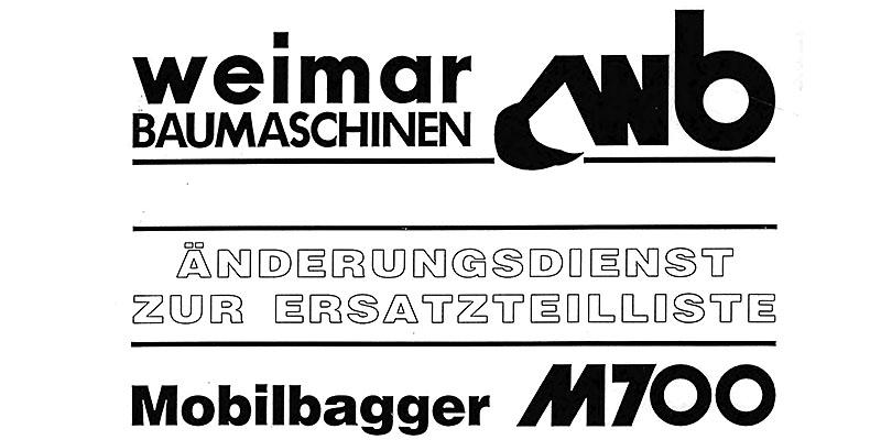 M700A Änderungsdienst zur Ersatzteilliste Mobilbagger