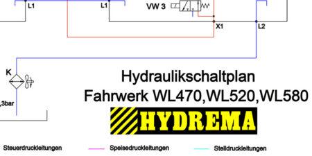 HYDREMA WL470 - WL520 - WL580 - Hydraulikschaltplan Fahrwerk