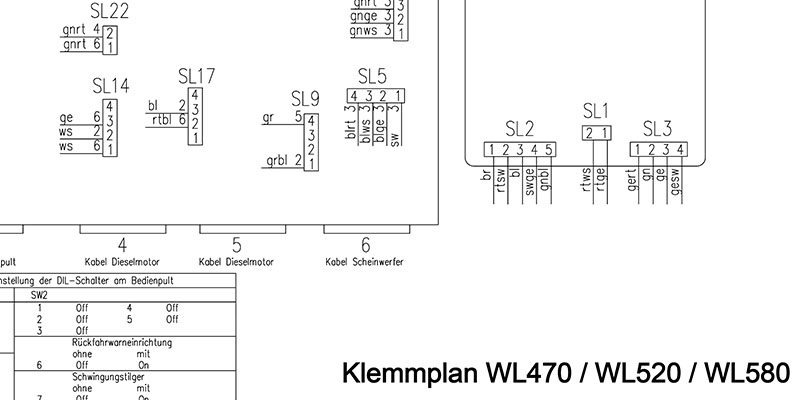 WL470 - WL520 - WL580 - Klemmplan Elektroanlage mit Display