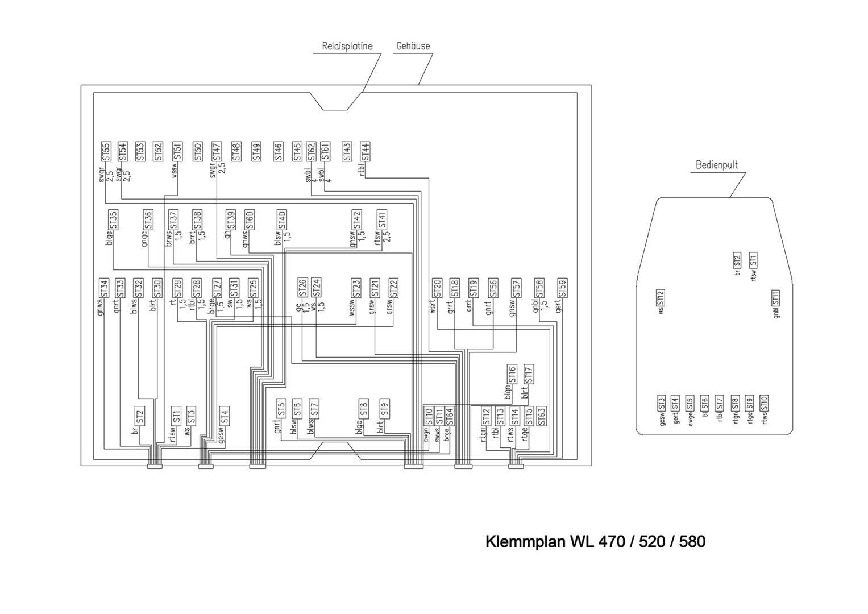 WL470-WL520-WL580 Klemmplan Elektroanlage ohne Display