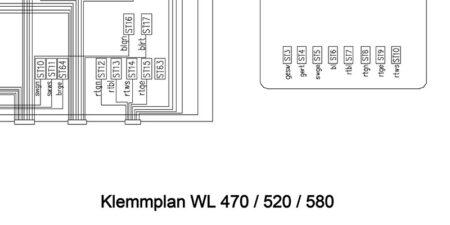HYDREMA WL470 - WL520 - WL580 - Klemmplan Elektroanlage ohne Display