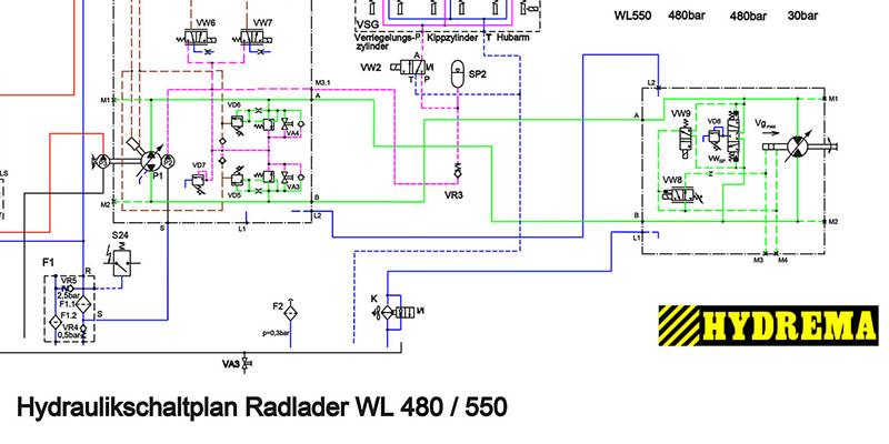 WL480-WL550 Hydraulikschaltplan