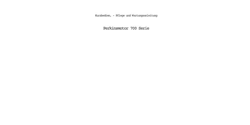 00 Serie-Kurzbedien-Pflege und Wartungsanleitung Perkinsmotor