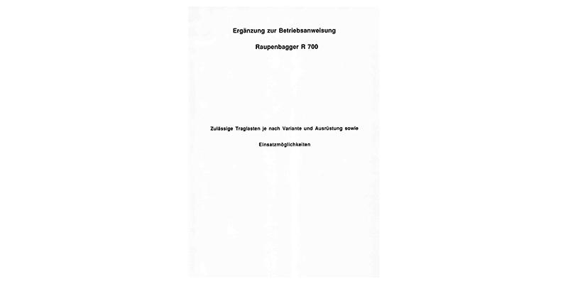 Ersatzteilliste R700 - Ergänzung zur Ersatzteilliste M700 für den Raupenbagger R700